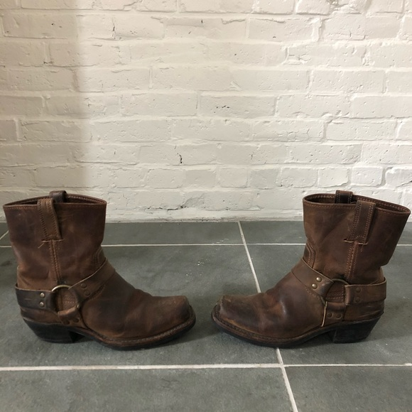 Frye Shoes - Frye Tan Leather Harness Boot Size 8